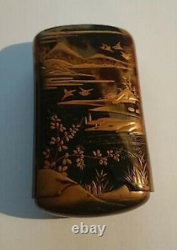 Fine Antique Faux Tortoise Shell Japanese Celluloid Cigar Cigarette Case c. 1900