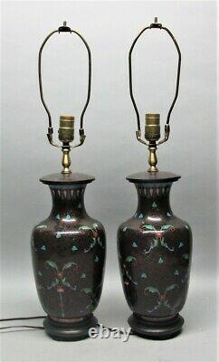 Fine Antique JAPANESE CLOISONNE Vase as LAMP (with 1 extra) c. 1920