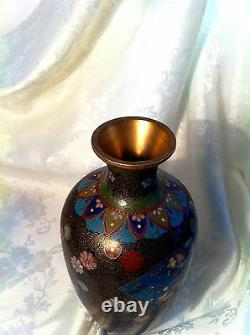 Fine Antique Japanese Big Kyoto Cloisonne Vase, Gold Wire, 10, No Faults