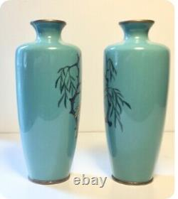 Fine Antique Japanese Cloisonné Enamel Pair Vases Egrets attr. To Ota Tameshiro