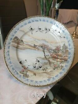 Fine Antique Japanese Hand Painted Pedestal Dish, Meiji Period, Signed
