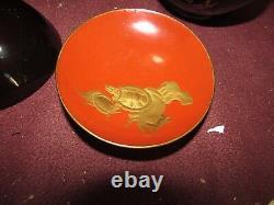 Fine Antique Japanese Lacquer Bowl and Lid Set of 11 pcs Meiji