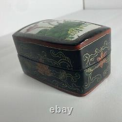 Fine Antique Japanese Makura Box 1890s -Kintsugi Ceramic Lotus Tile, Lacquered