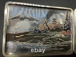 Fine Antique Japanese Meiji Niello Sterling Engraved Cigarette Card Case Signed
