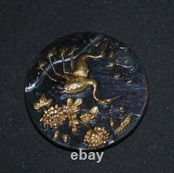 Fine Antique Japanese Meiji Shakudo Iron Gold Crane Figure Peony Design Button