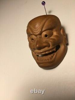Fine Antique Japanese Netsuke Mask Mennetsuke Shishiguchi Signed Shugetsu Saku