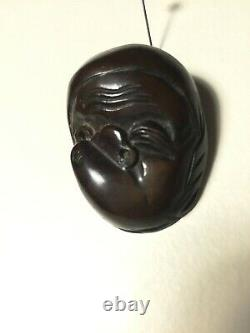Fine Antique Japanese Netsuke Mask Mennetsuke of Hyottoko