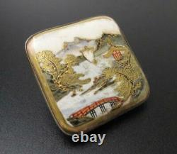 Fine Antique Japanese Satsuma Handpainted Belt Buckle Silver Backed Signed