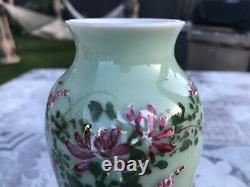 Fine Antique Japanese Seto Green Celadon Porcelain Vase Flowers Art NICE