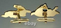 Fine Antique Japanese Victorian 14K Gold Shakudo Rolling Horses Animal Cufflinks