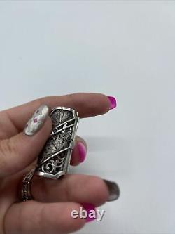 Fine Antique Japanese export 950 sterling Silver Filigree Vinaigrette pin brooch