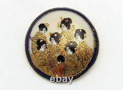 Fine Antique Meiji Japanese Satsuma Porcelain Brooch