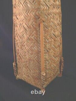 Fine Antique Vintage Japanese IKEBANA Woven Handle Asian BASKET with insert