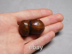 Fine Boxwood Carved NETSUKE Worm-eaten Chestnuts 19thC Japanese Original Antique
