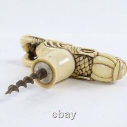Fine Carved Bovine Japanese Meiji Period'Crayfish' Corkscrew / Cane Top, c1880
