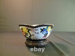 Fine Early 1900 Japanese Inaba Scallop Rim Cloisonne Bowl with Flowers Marked
