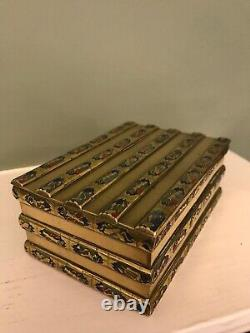 Fine Japanese Brass Trinket Box With Intricate Enamel Panels And Hinged LID