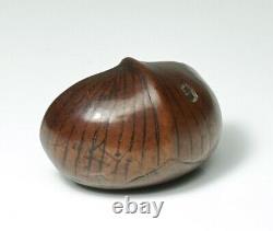 Fine Japanese Chestnut Tree Seed Wood Netsuke Signed Meiji Period
