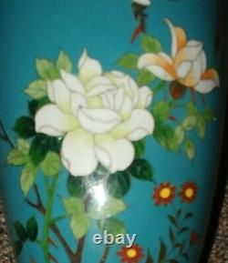 Fine Japanese Cloisonne Vase, Early/Mid 20th Century, Bird, Flowers