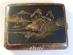 Fine Japanese Komai Style Iron Gold Inlay Cigarette Case