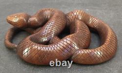 Fine Japanese Meiji Boxwood Okimono Snake