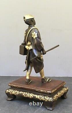 Fine Japanese Meiji Miyao Bronze Gilded Okimono of Scholar