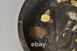 Fine Japanese Meiji Period Bronze Charger with Gold And Silver Inlay Signed