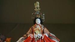Fine Japanese Meiji Period Emperor & Empress Dolls on Stand