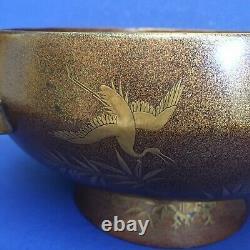 Fine Japanese Meiji Period Lacquerware Footed Bowl withOriginal Wood Box Crane