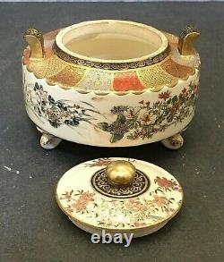 Fine Japanese Meiji Satsuma Tripod Lidded Jar with Handles, Signed