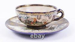 Fine Japanese Satsuma Cobalt Cup and Saucer with Roosters