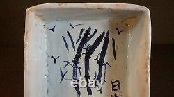 Fine Japanese Square Shape Crackle Blue & White Porcelain Bowl Calligraphy