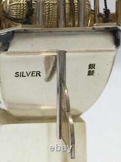 Fine Japanese Sterling Silver Okimono Treasure Ship