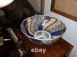 Fine Large Antique Japanese Imari Porcelain Bowl with Unusual Mark