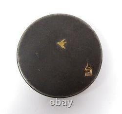 Fine Meiji Antique Japanese Signed Damascene Compact Powder Small Round Case