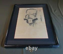 Fine Old Japanese Hand Painting Sumi Ink Man Signed Framed