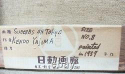Fine Original JAPANESE OIL PAINTING of TOYKO KENDO YAJIMA c. 1959 Nichido Gal