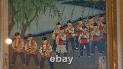 Fine Original Japanese Woodblock Print by Yoshitoshi Goyu 1883 Framed