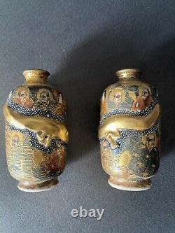 Fine Pair Antique Japanese Miniature Satsuma Vases Dragons Signed Perfect