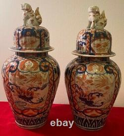 Fine Pair of Japanese Imari Ribbed Jars & Covers Lion Finals 33cm / 13.2 inch