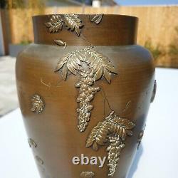 Fine Quality Pair Of Antique Japanese Meiji 1868-1921 Bronze Mixed Metal Vases