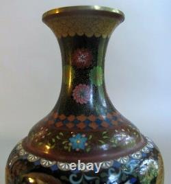 Fine & Rare JAPANESE MEIJI-ERA Cloisonne Vase with Gilt Leaves c. 1890 antique