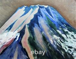 Fine Vintage/Antique JAPANESE CLOISONNE Bronze Plate with Mountain c. 1930 ANDO