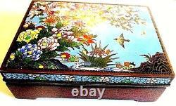 Fine Vintage Edwardian Japanese Cloisonne Hinged Wooden Box
