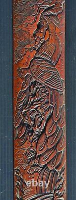 Fine antique Japanese Meiji Period carved bamboo page turner with peacocks