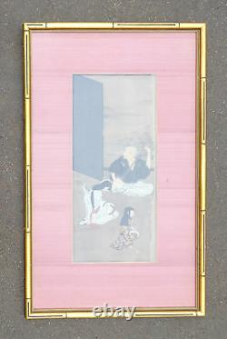 Fine antique Japanese scroll painting Shamisen players silk screen