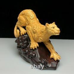 Handwork Old Fine boxwood Collectible Japanese Netsuke Panthera pardus Statue