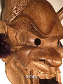 Japanese Fine-Art, Hannya  Mask, Yakusugi Wood, Signed Yamanaka UNESCO
