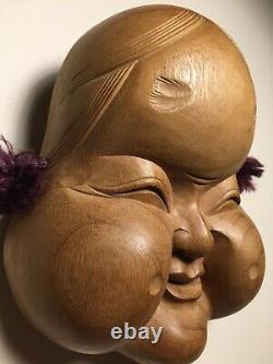 Japanese Fine-Art, OTAFUKU  Mask, Yakusugi Wood, Signed Yamanaka UNESCO