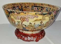Japanese Fine Meiji Satsuma Musicians in the Garden Bowl withWood Stand